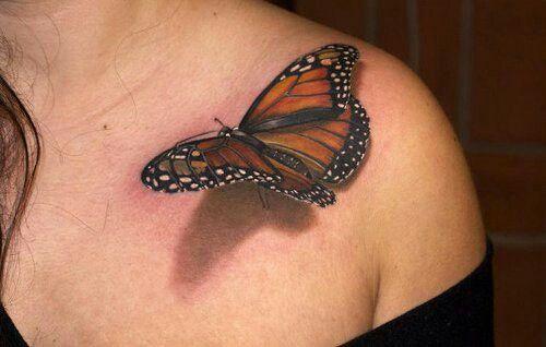 3D Monarch Butterfly Tattoo