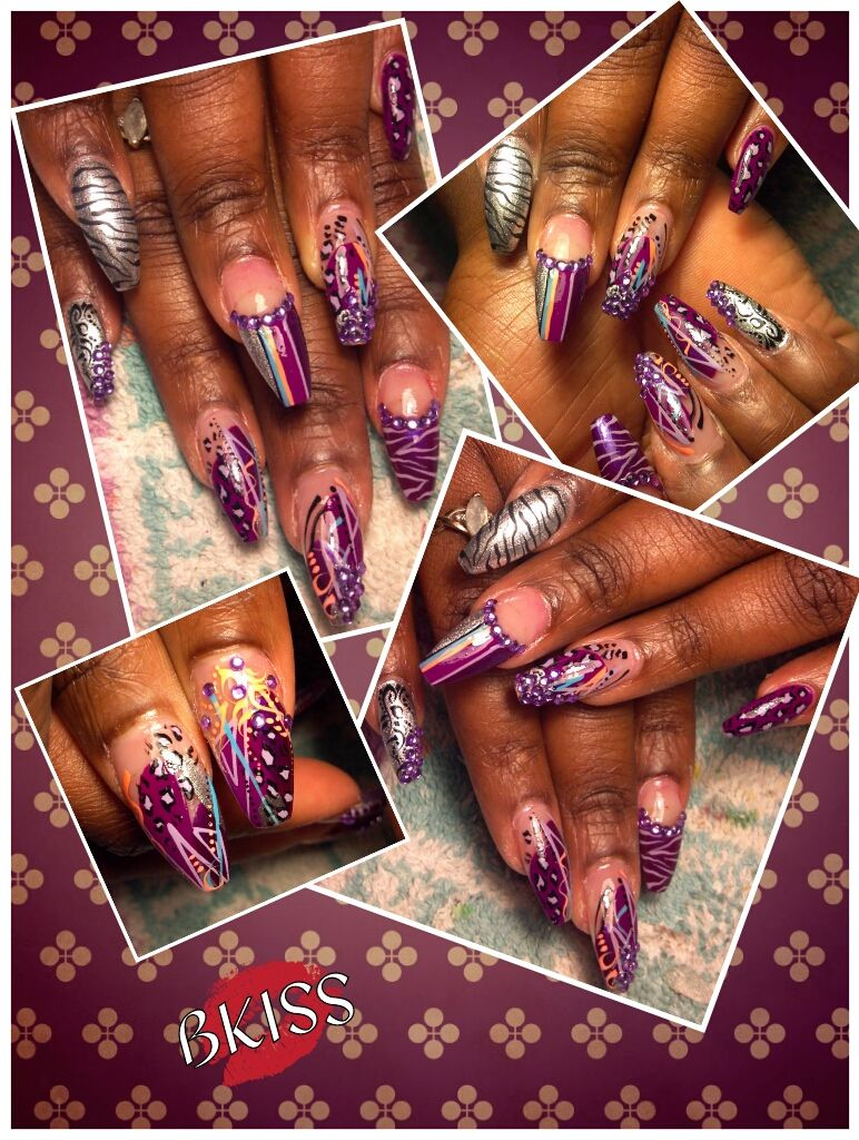 Stiletto square nails with freestyle design featuring purple. Added ...