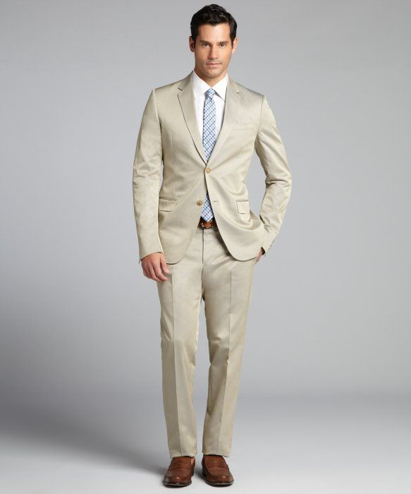 Beige Suit Mens Dress Yy