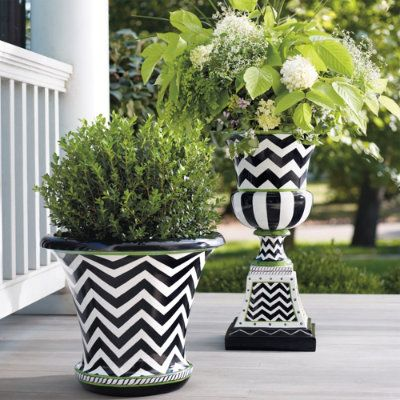 Zoey urn using cheap fiberglass planter i can paint this design love black white and green