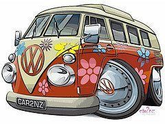 pin av anne madsen p flower power bus art vw bus og. Black Bedroom Furniture Sets. Home Design Ideas