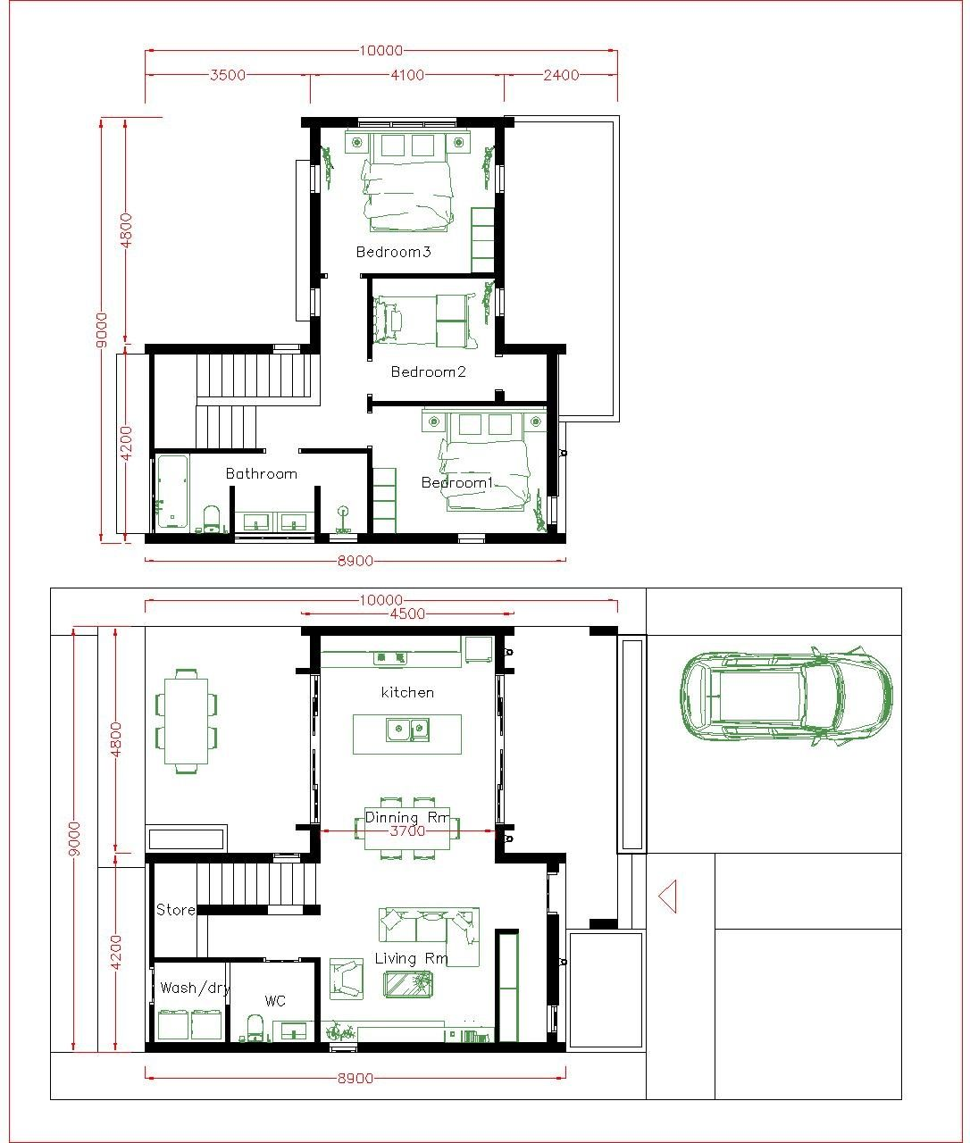 3 Bedrooms House Plans 9x10m Sam House Plans House Plans Bedroom House Plans House Layout Plans