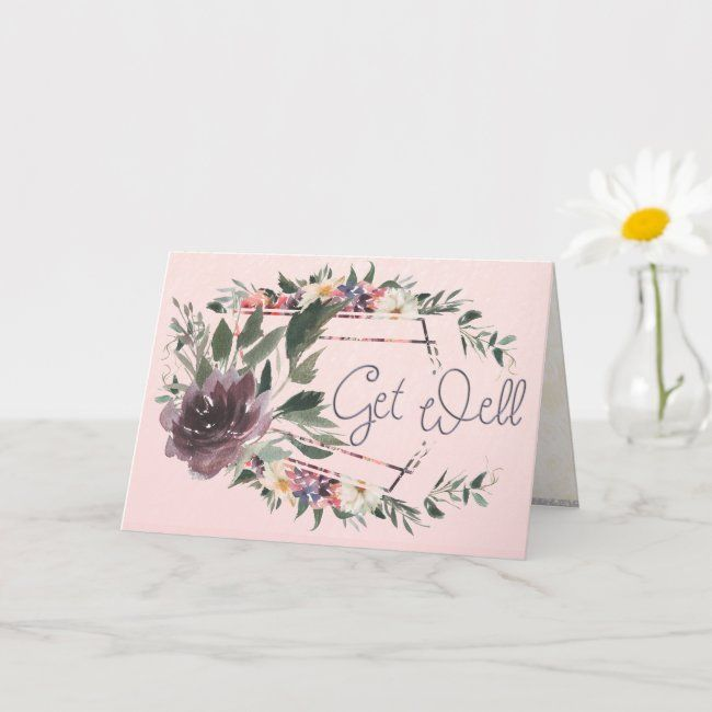 Get Well Contemporary Floral Watercolor Card #Ad , #Ad, #Watercolor#Card#created#Shop