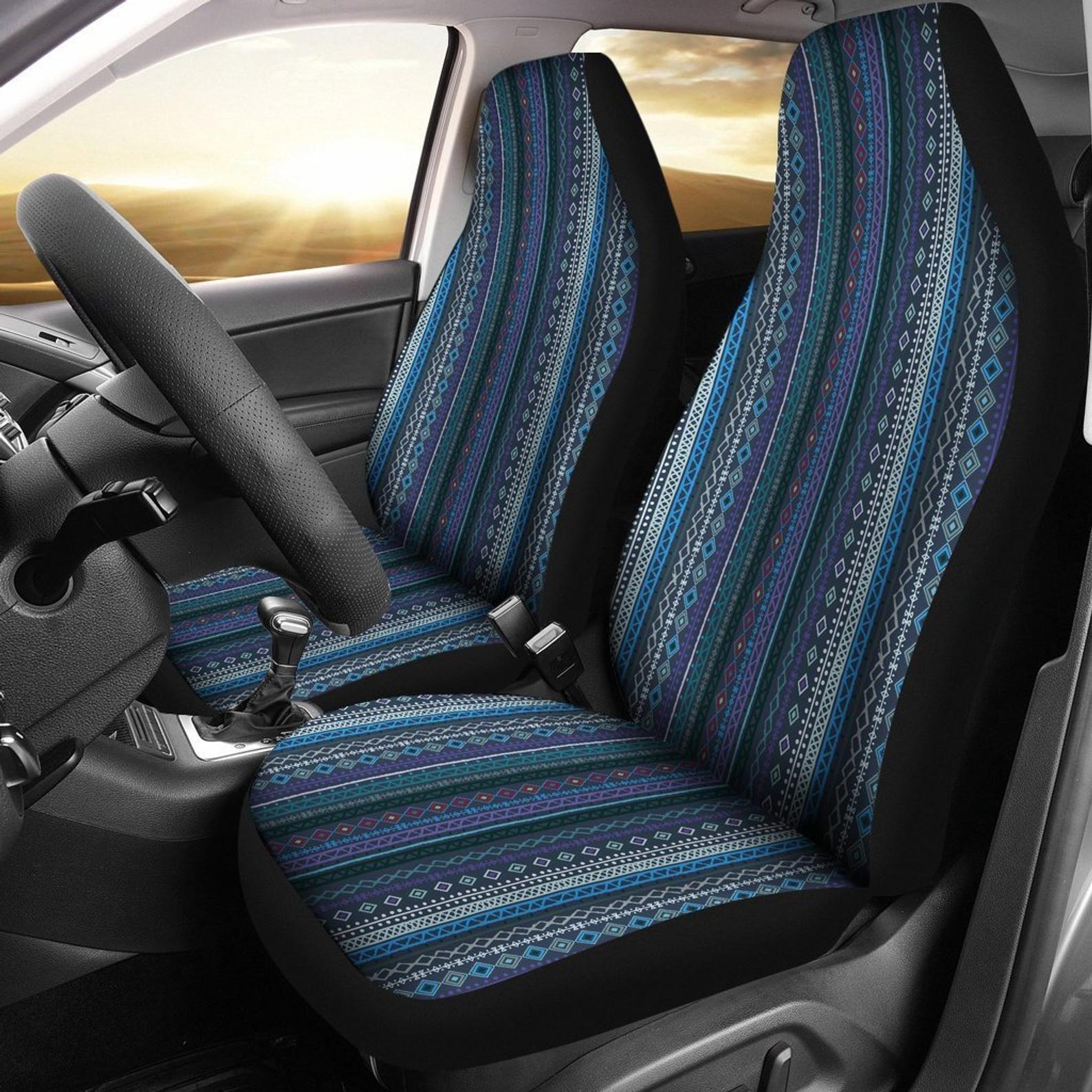 Blue Boho Stripe Decor Car Seat Covers Pair 2 Front Seat | Etsy