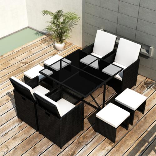 21 Tlg Poly Rattan Essgruppe Sitzgruppe Gartengarnitur Lounge Cube
