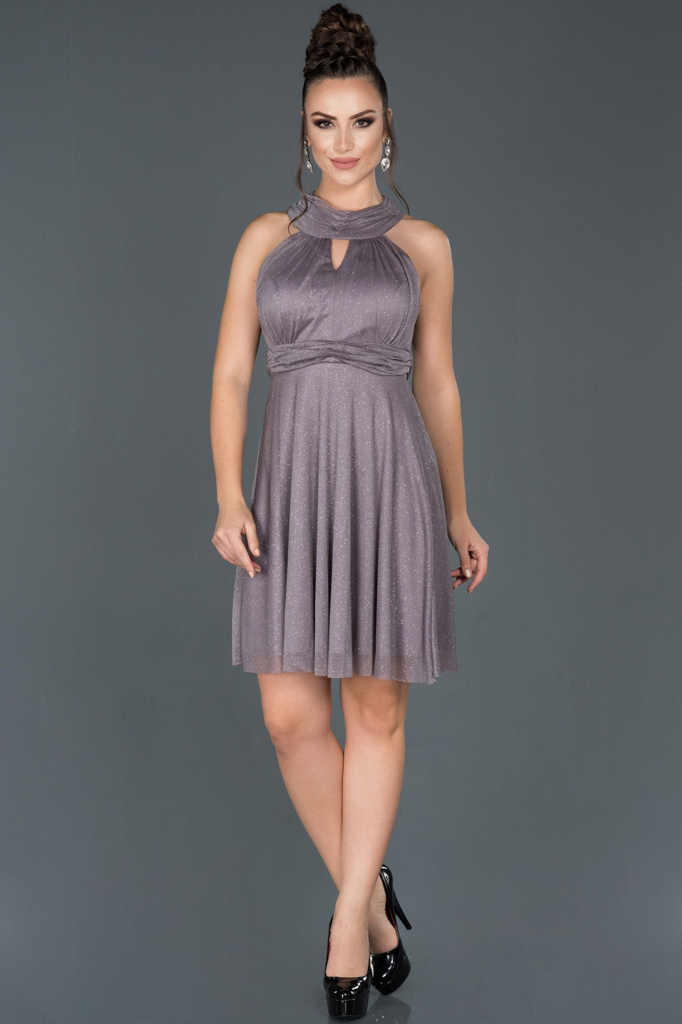 Koyu Mor Kisa Sirt Dekolteli Abiye Elbise Abk527 2020 Elbise The Dress Elbise Modelleri