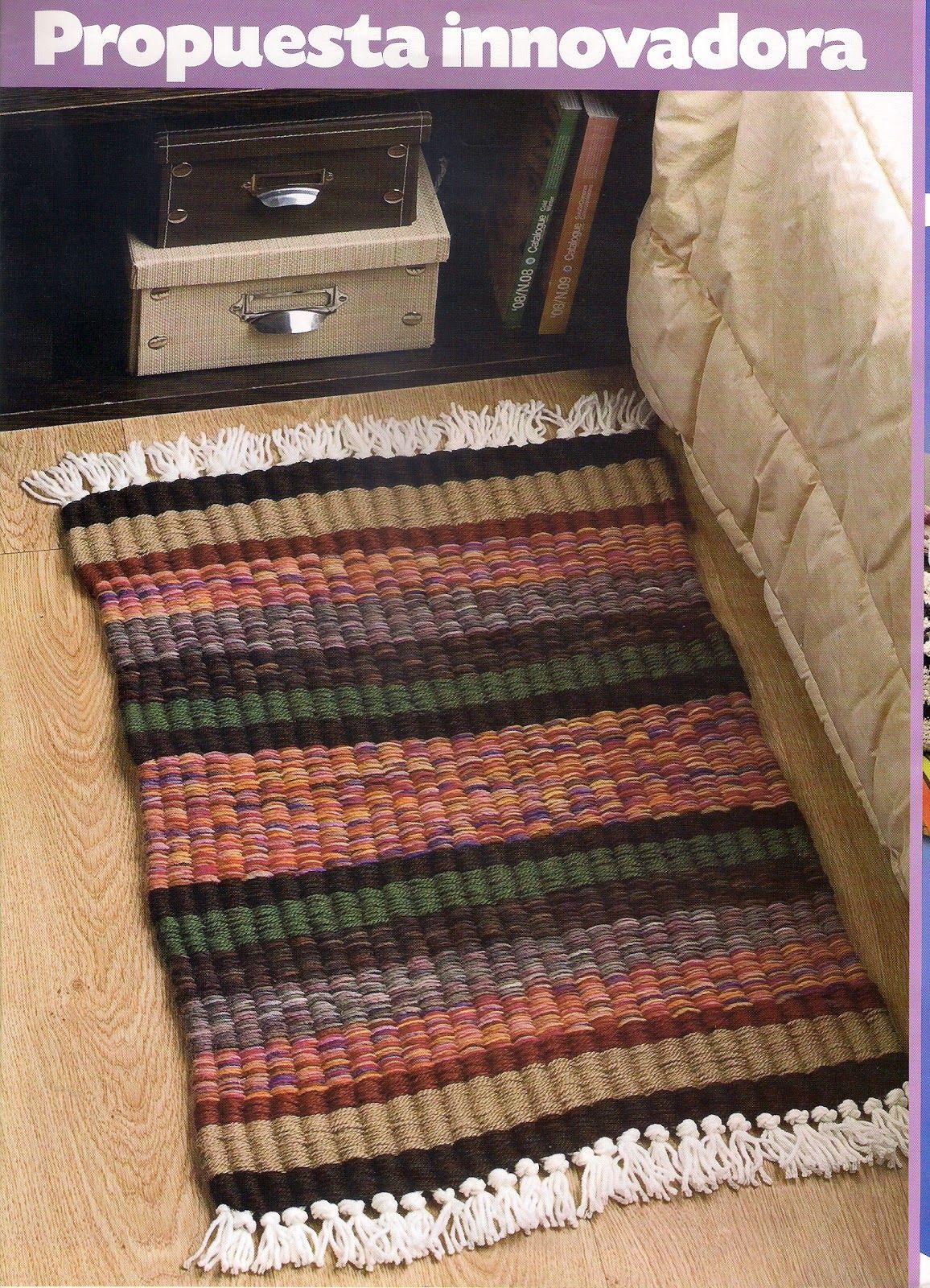 Como tejer en telar de varillas tejido ideal para hacer - Alfombras pequenas ...