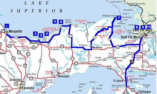 Edmund Fitzgerald driving map 2 Shipwreck Tours httpwww