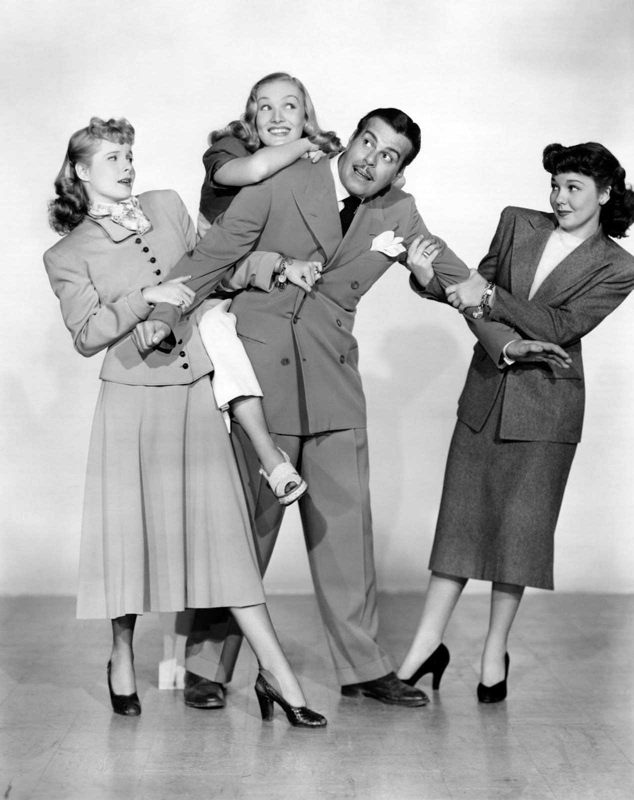 Veronica Lake, Mary Hatcher, Billy De Wolfe and Mona Freeman in ISN'T IT ROMANTIC (1948).