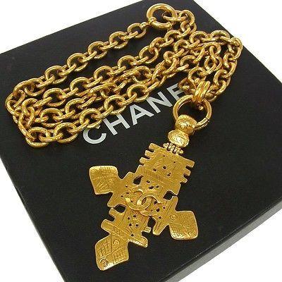 Authentic CHANEL Vintage CC Logos Gold Chain Pendant Necklace 94P France