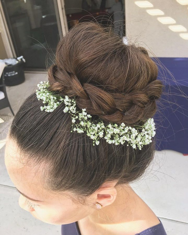bridal updo with braids #theperfectblend #updos #greenwedding #curls #weddinghair #weddings #weddingtime #makeup #braidstyles #braidedupdo #softcurls #twistedupdo