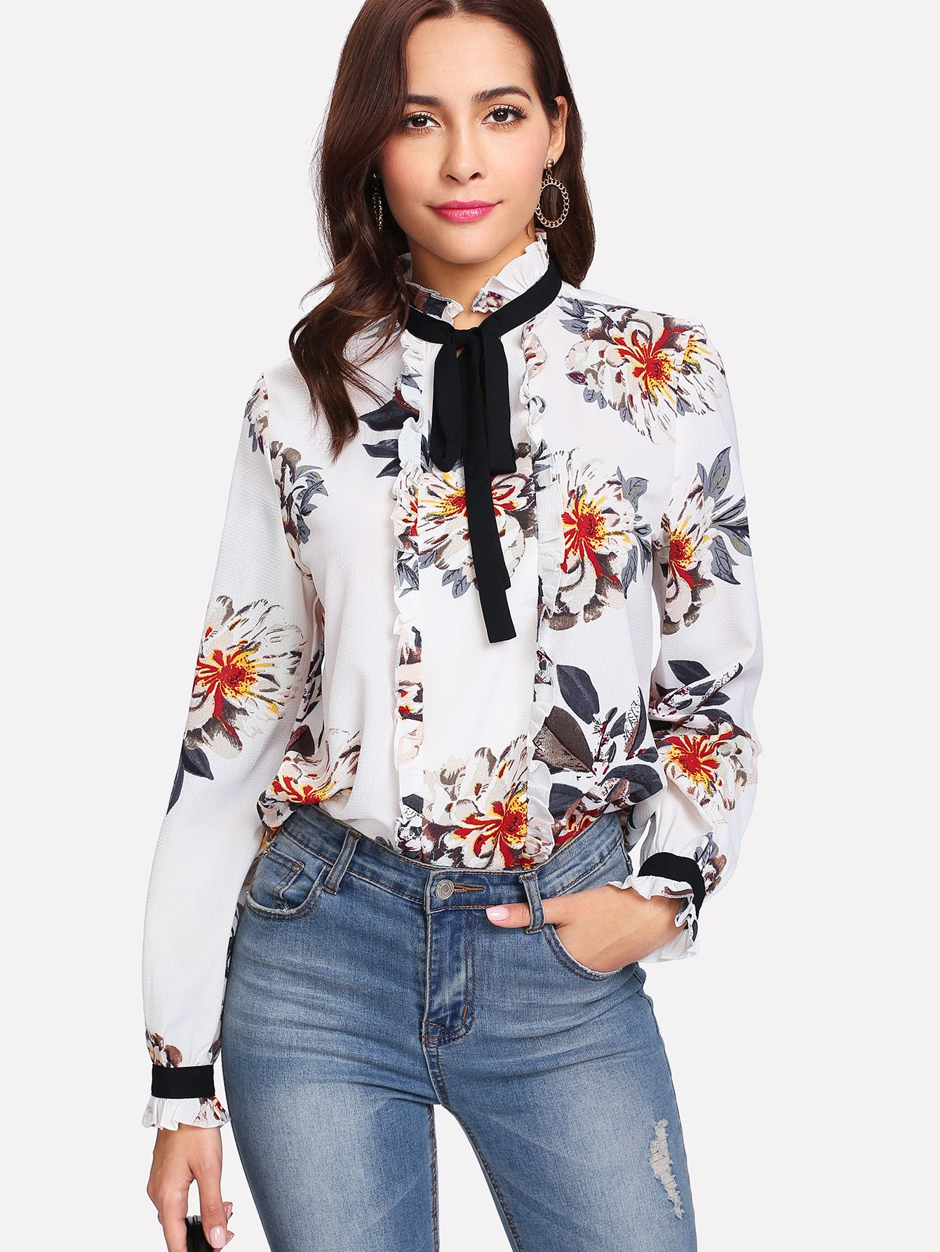be4564aa91 Shop Frill Detail Tied Neck Floral Blouse online. SheIn offers Frill Detail  Tied Neck Floral Blouse & more to fit your fashionable needs.