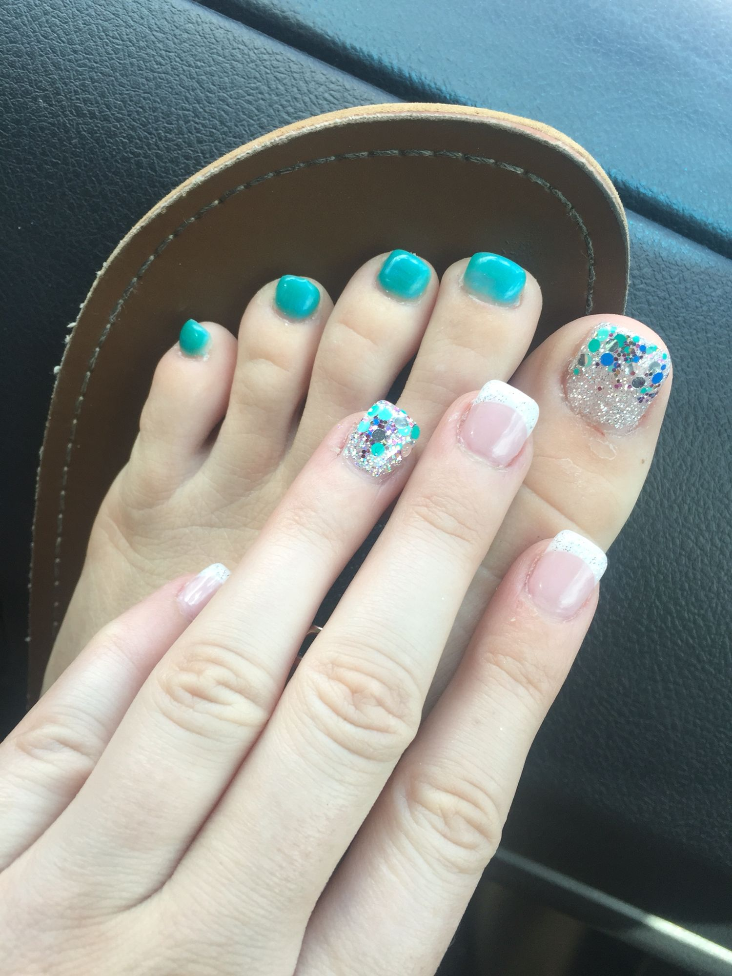 Bio seaweed gel glitter blue matching hand and toes French nails ...