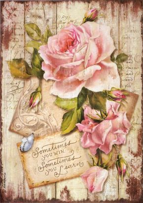 Rice Paper for Decoupage Decopatch Scrapbook Craft Pink roses hat