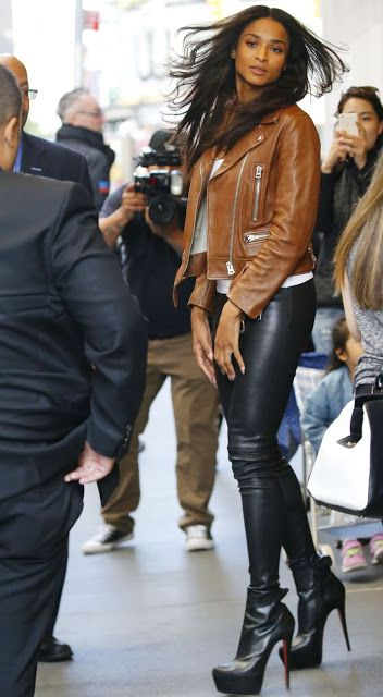 3a2573ed406274 Celebrities In Leather: Ciara wears black leather pants & brwon leather ja.