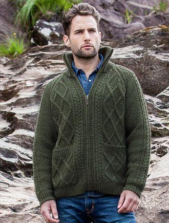 Hand Knit Zipper Cardigan with Pockets Moss Green   Wool