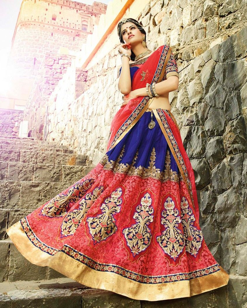 Blue and pink heavy bridal embellished lehenga blue and pink