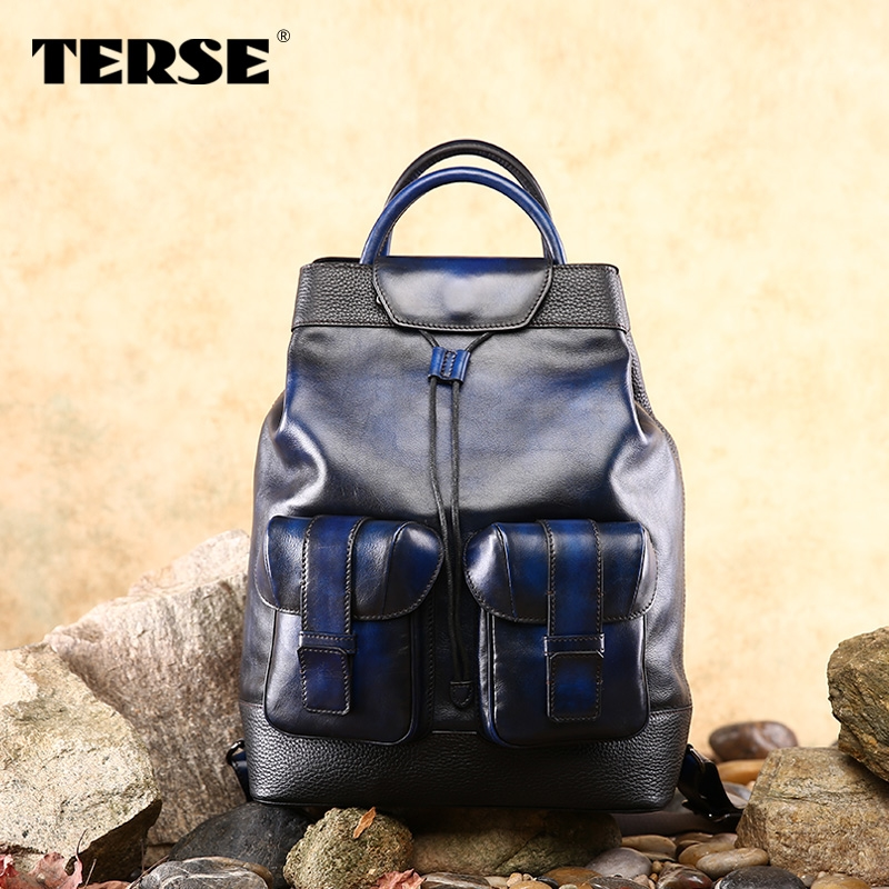 (434.00$)  Buy here - http://aic3e.worlditems.win/all/product.php?id=32575485052 - TERSE_Excellent Handmade bag large capacity Leather backpack fashion style school bag for teenager leather bags durable 2 colors