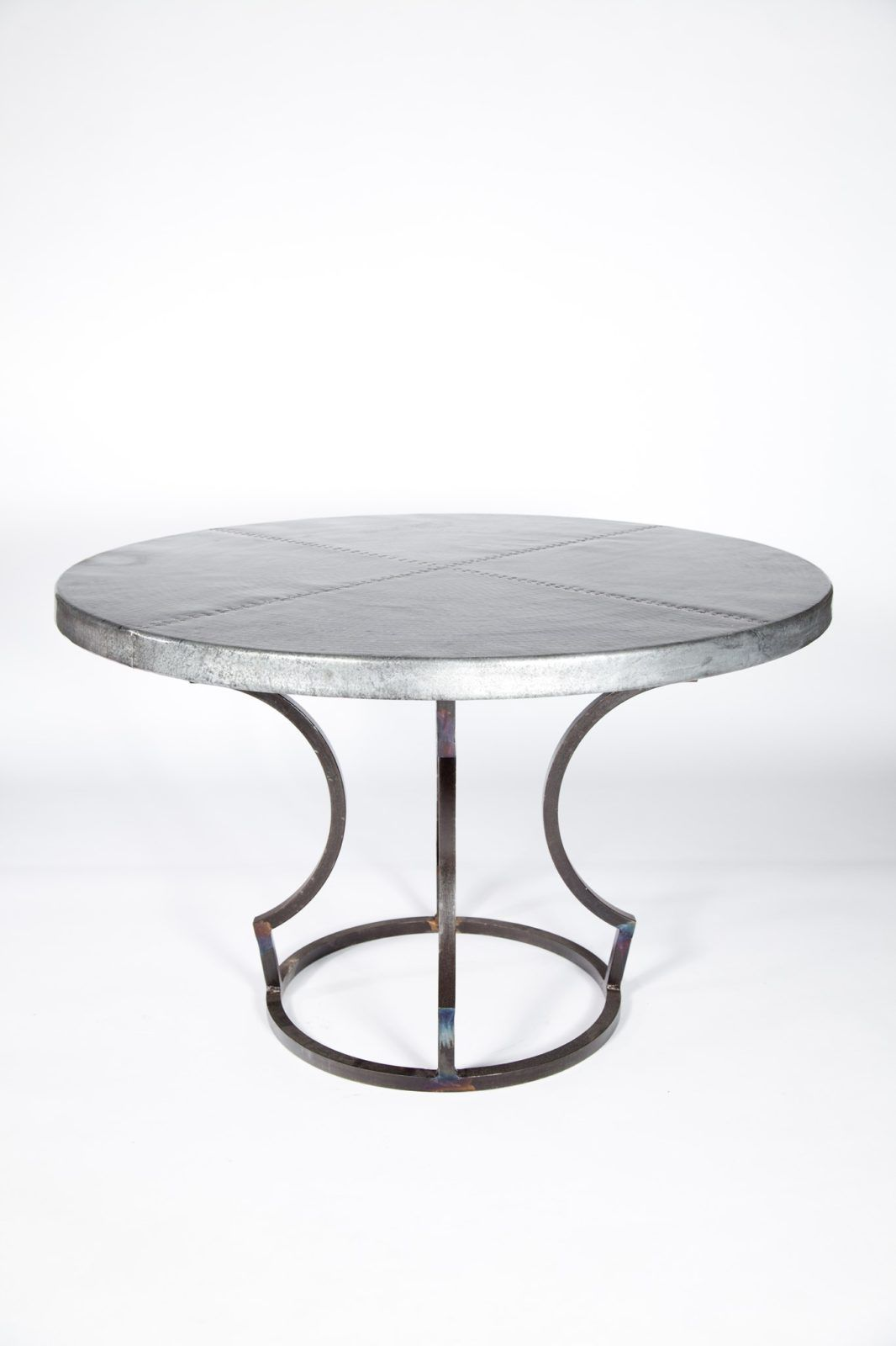 Charles Dining Table With 48u2033 Round Hammered Zinc Top