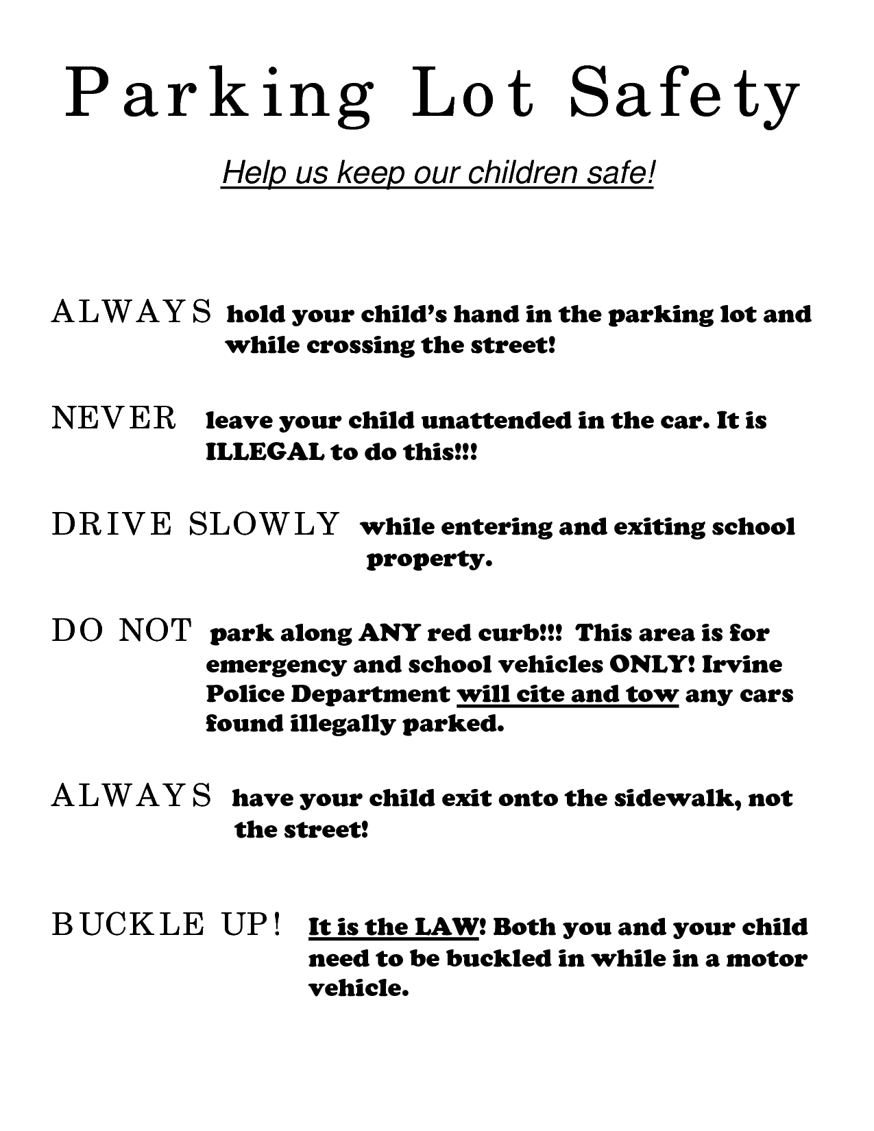 Preschool Parking Lot Safety Rules