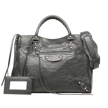 Balenciaga Classic Gold City Shoulder Bag, Gray (Gris Fossile)