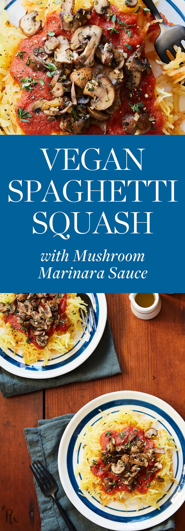 Vegan Spaghetti Squash With Mushroom Marinara Sauce
