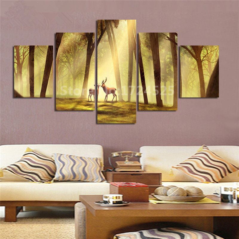 5 Pcs Large Poster HD Printed Grassland Deer Canvas Pianting Wall ...