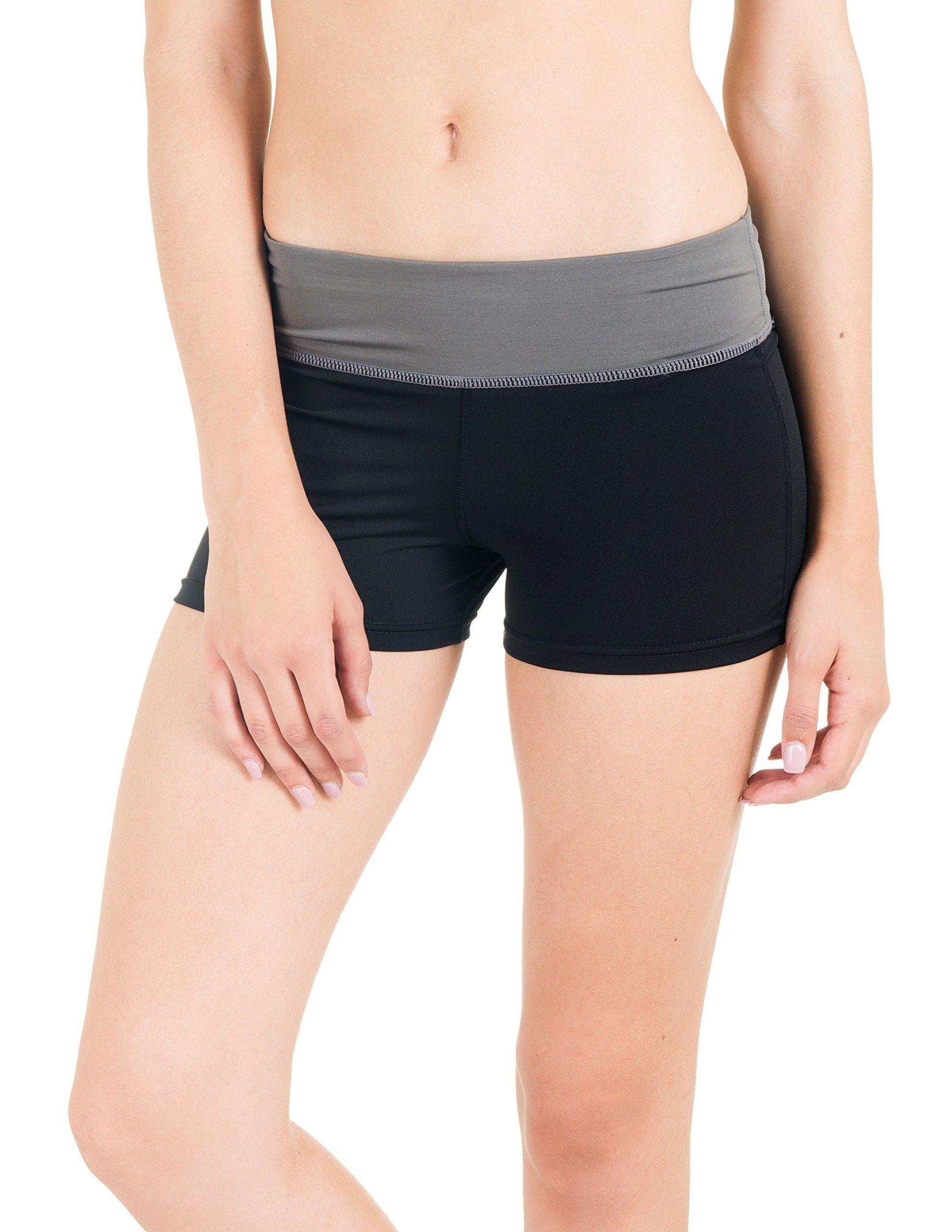 Flex Juniors Lightweight Yoga Shorts (Small/Medium, Black/Charcoal)