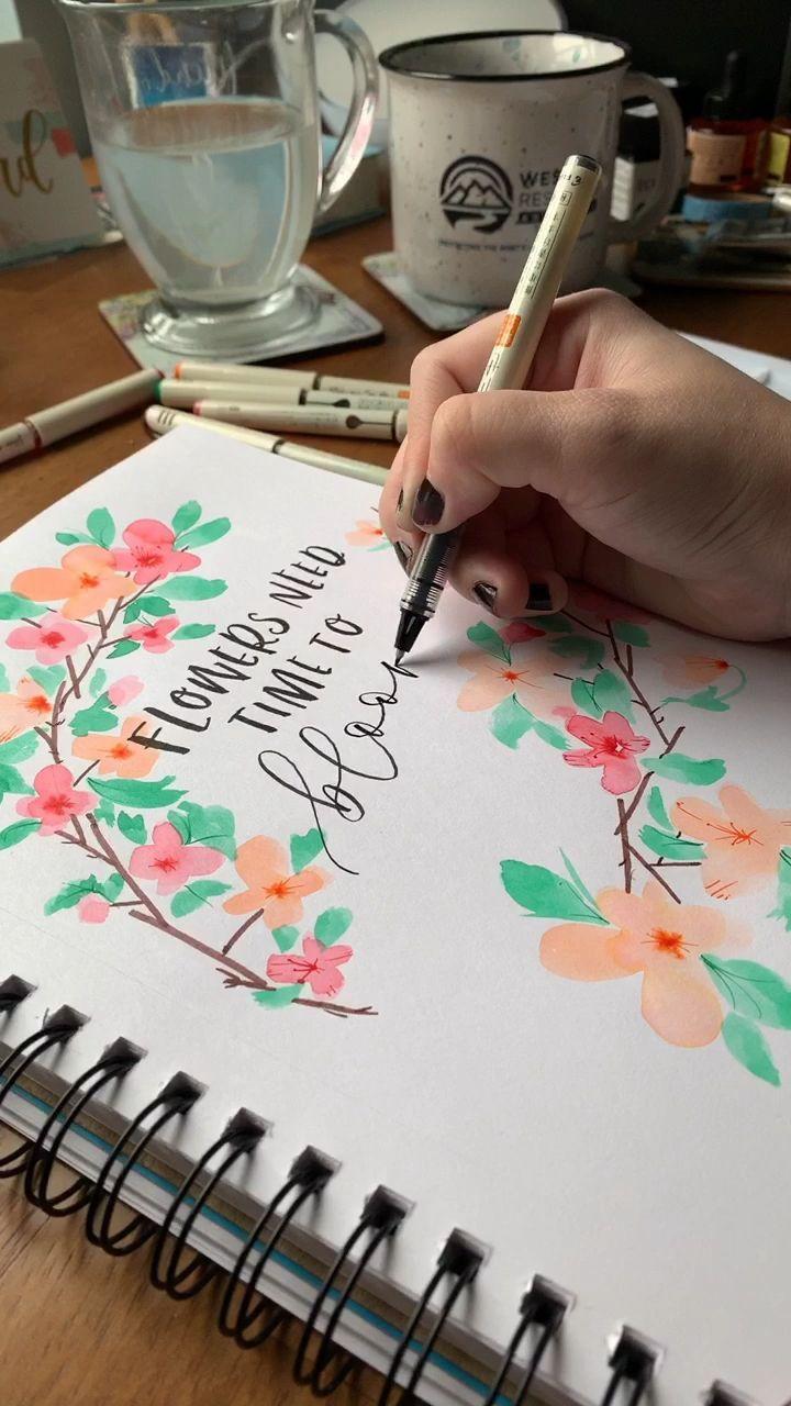 Aquarell Blumenkranz Mit Pinselstiften Portada De Cuaderno De