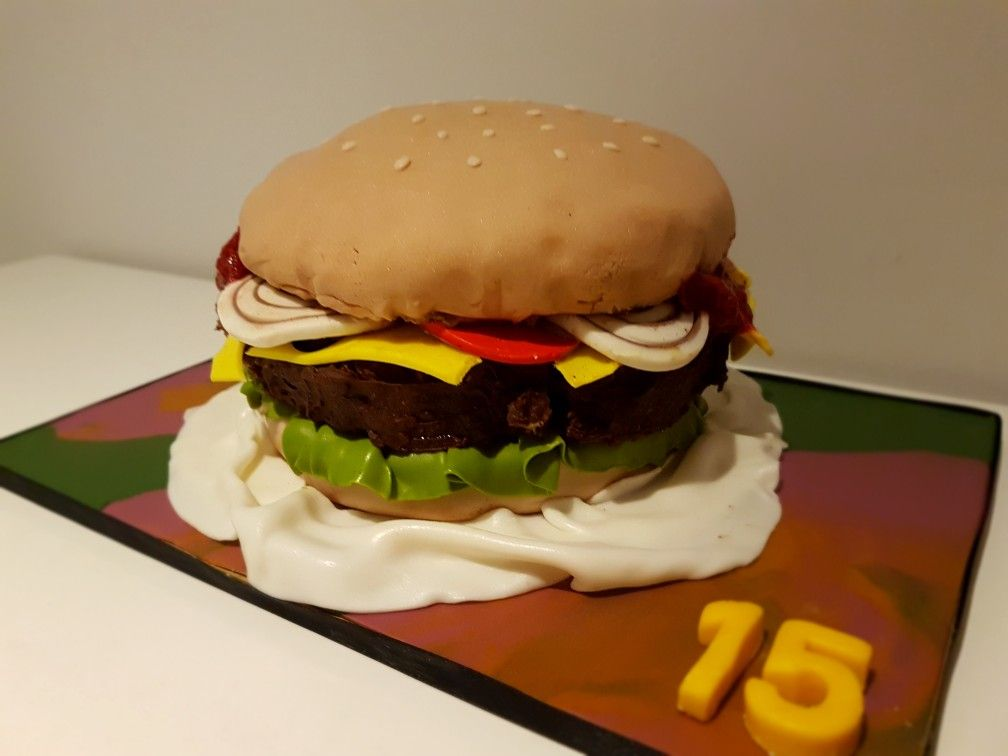 Burger Birthday Cake For My 15 Year Old Boy With Images Cake