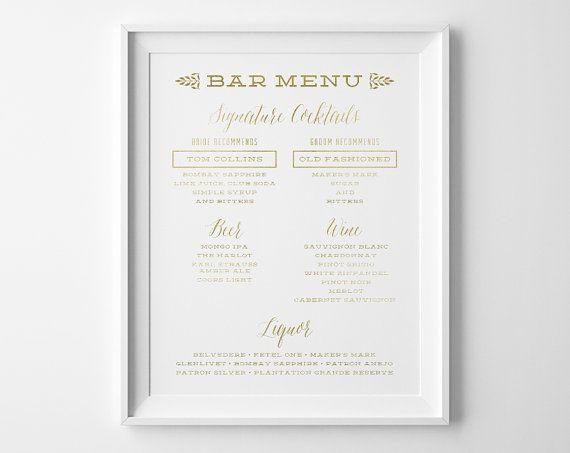 Bar Menu Wedding Sign Signature Cocktail Menu Custom Wedding Sign