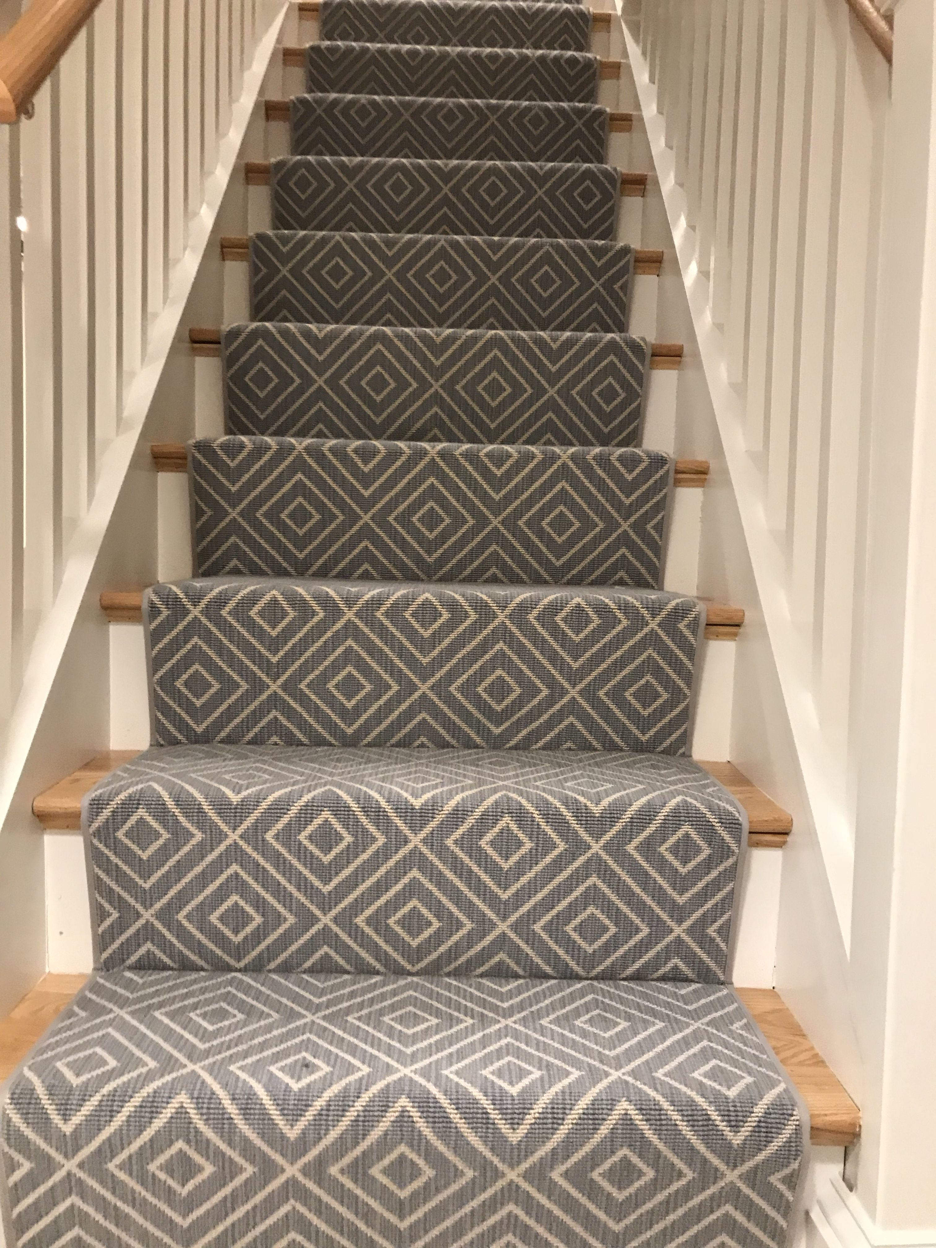 Pin By The Carpet Workroom On Geometric Stair Runners Rugs Geometric Stair Runner Stair Runner Carpet Stair Rugs