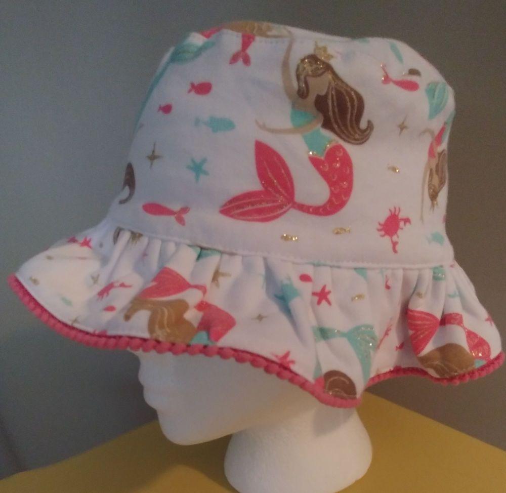 9f7579a3194 Mud Pie Mermaid SUN HAT BEACH COTTON 2T-5T Girls White Pink Blue Reversible  NEW  MudPie  SunReversible