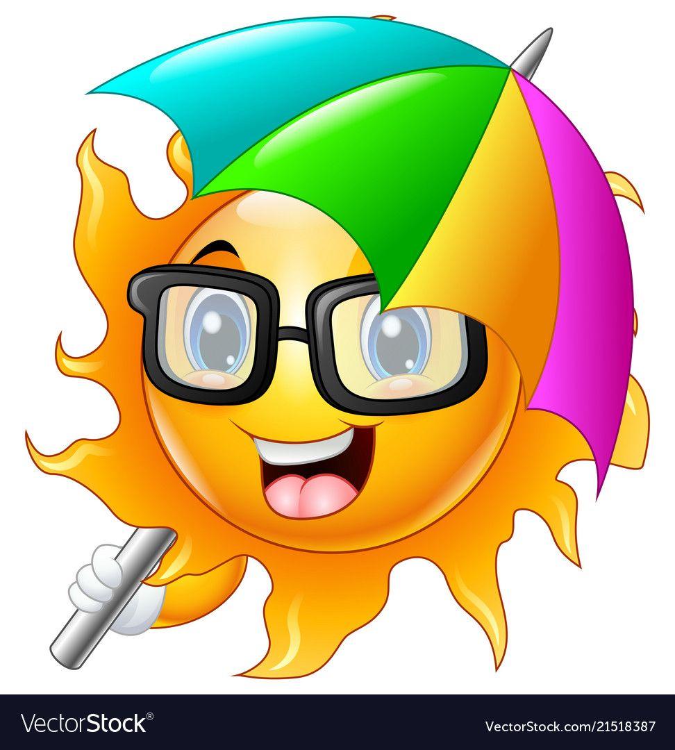 Cartoon character of sun in sunglasses with umbrel vector ...