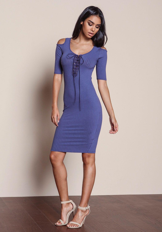 Blue Lace Up Coldshoulder Ribbed Knit Dress