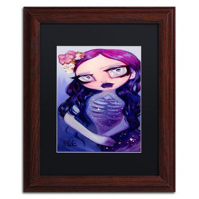 "Trademark Art 'Night Skin' Framed Painting Print Mat Color: Black, Size: 14"" H x 11"" W x 0.5"" D"