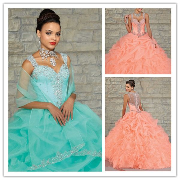 New-2015-Quinceanera-Dresses-Blue-Coral-Sweetheart-Ball-Gown-See ...
