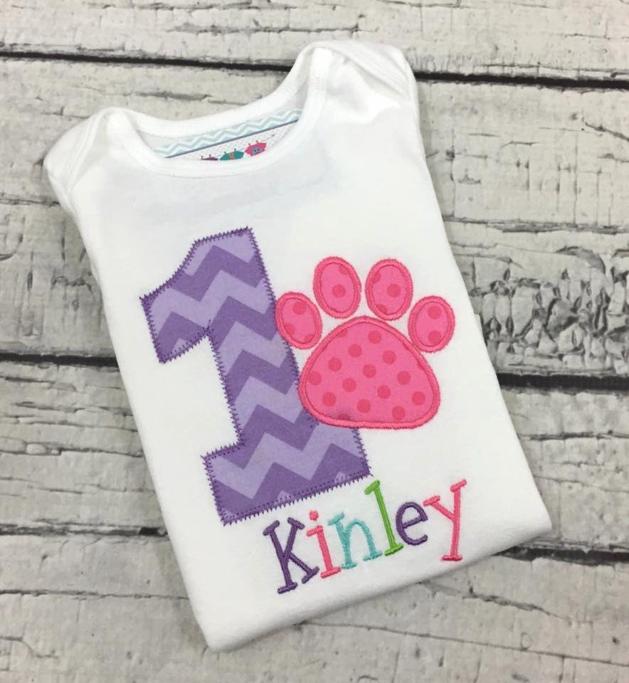 Baby Girl 1st Birthday Puppy Shirt 1st Birthday Paw