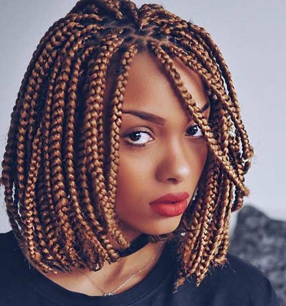 Wedding Hairstyles With Box Braids: Honey Blonde Box Bob Braids In 2020