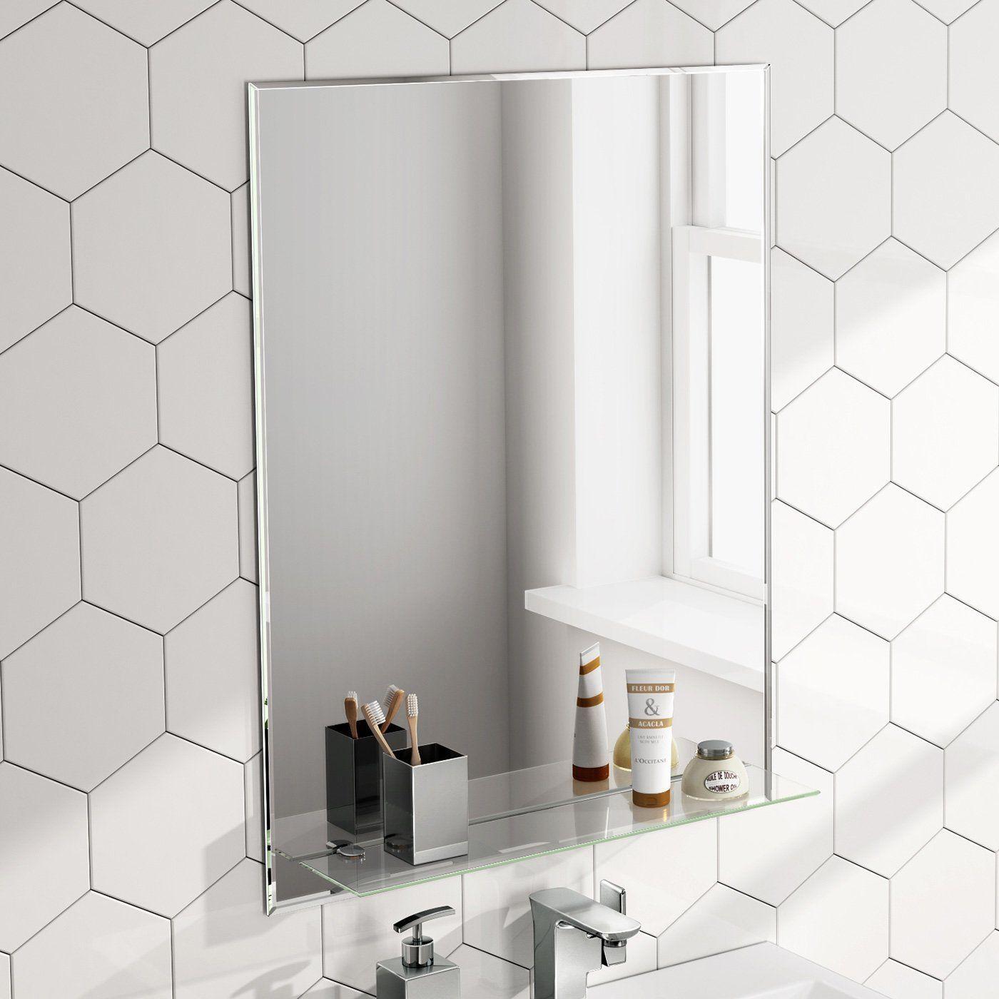 600 x 800 mm Designer Bathroom Wall Mirror + Glass Shelf ...