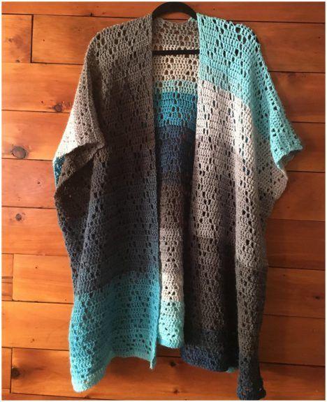 Poncho Sweater Cardigan   Pattern Center #crochetclothes