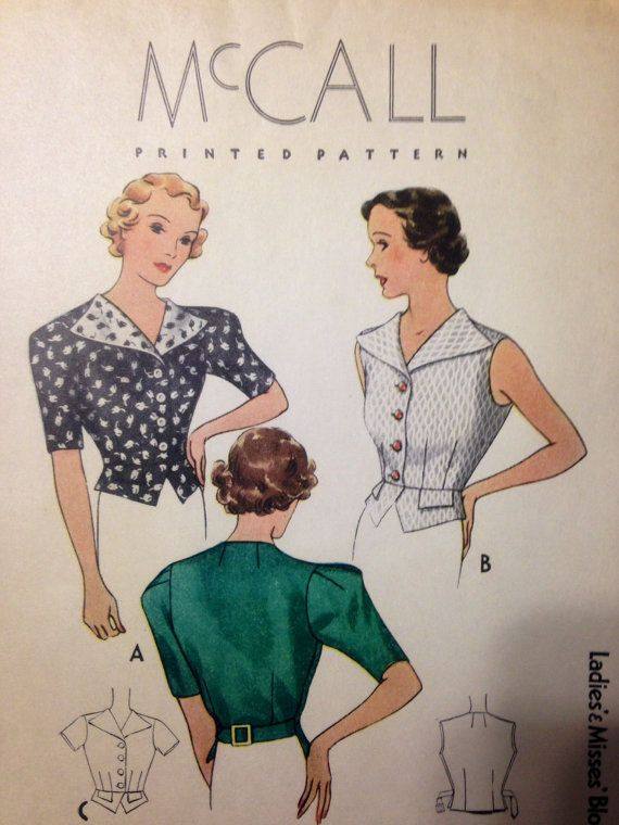 McCall 8779 | ca. 1936 Ladies\' & Misses\' blouse | 1930s McCall ...