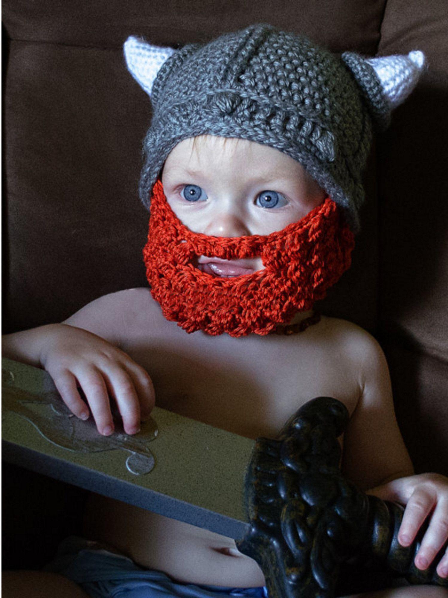 Childrens Viking Beard Hat Barbarian Knit Cap Mustache | All things ...