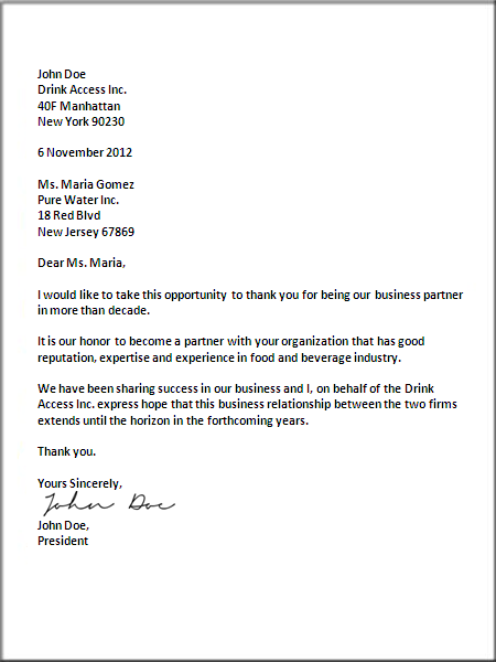us business letter format - 54 Sample Thank You Letter Business Opportunity Good