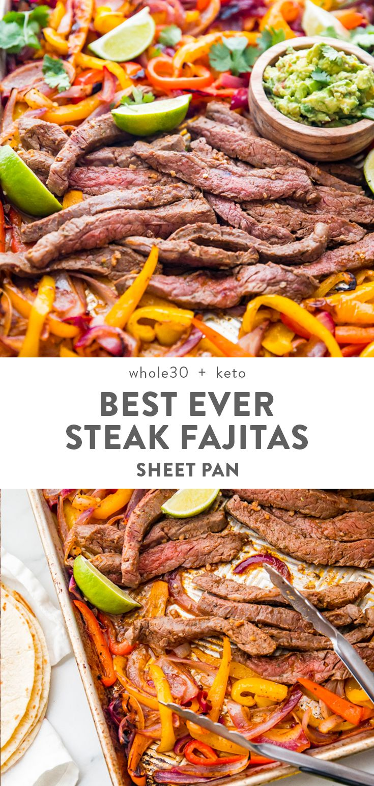 Best Sheet Pan Fajitas with Steak (Whole30, Low Carb) #steakfajitarecipe