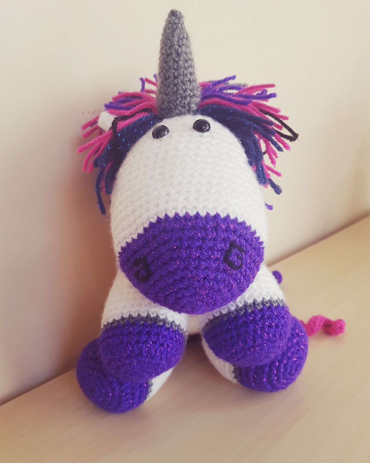 Crochet Unicorn with a \'gothic\' twist. Pattern credit to @1woofdog ...