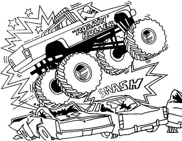 Bigfoot Monster Jam Smashing Cars Coloring Pages Color Luna Cars Coloring Pages Monster Truck Coloring Pages Coloring Books