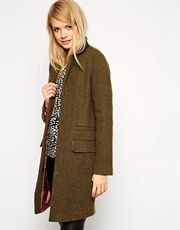 ASOS Coat With Clean Collar And Contrast Lining