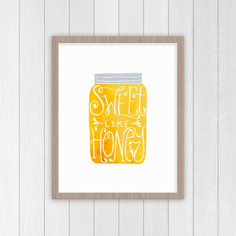 Sweet Like Honey Print | Mason Jar Kitchen Decor Print | Gifts for ...