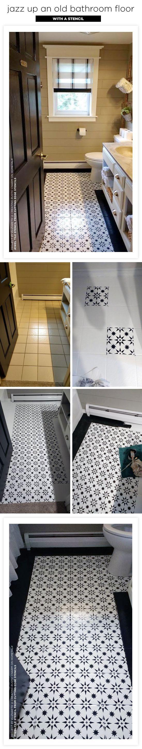 Jazz Up An Old Bathroom Floor Using Stencils Bathroom Tile Diy Floor Makeover Floor Stencils Diy